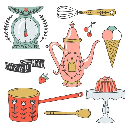 Colorful collection of baking items and sweets. Cute Vector illustration and design elements