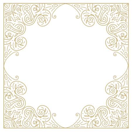 golden frames: Vintage gold background, ornamental hand draw vector frame with lace borders Illustration