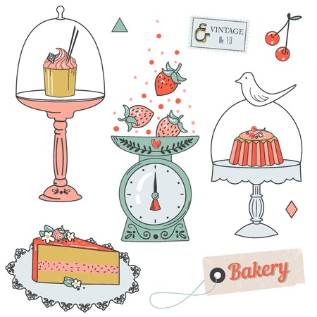 Colorful collection of baking items. Cute Vector illustration and design elements