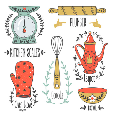 corolla: Colorful collection of baking items. Cute Vector illustration.