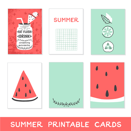 flush: Summer printable cards. Detox fat flush water recipe, watermelon, fruits and vegetables. Decorative doodle style vector illustration with mason jar and ingredients.