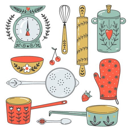 corolla: Colorful collection of baking items and sweets. Cute Vector illustration and design elements