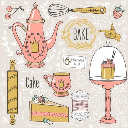 cake: La hora del té: tetera, taza de té, pasteles, hojas, artículos para hornear, elementos de diseño decorativo.