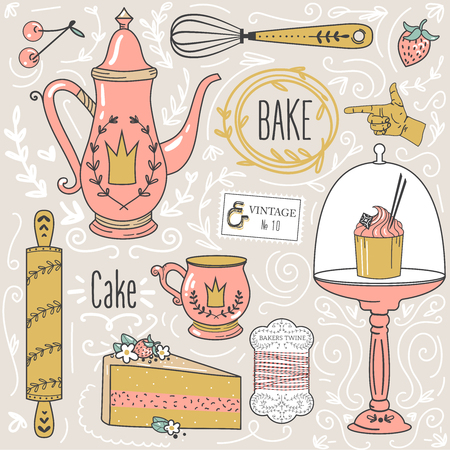 Teatime: tea pot, tea cup, cakes, leaves,baking items, decorative design elements.