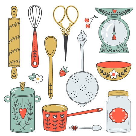 colander: Colorful collection of baking items. Cute Vector illustration.