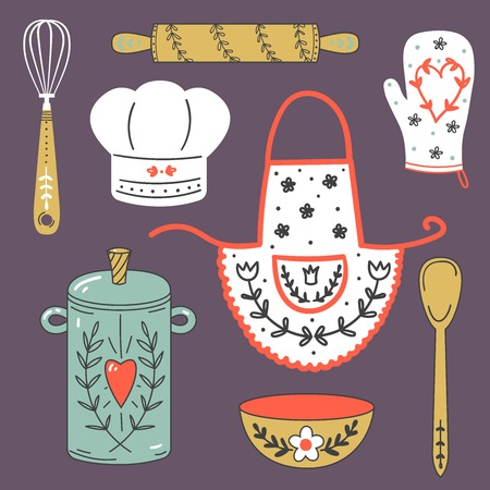 pot holder: Colorful collection of baking items. Cute Vector illustration.