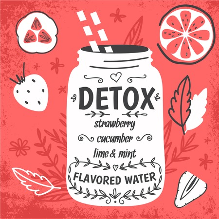 Detox fat flush water recipe. Decorative doodle style vector illustration with mason jar and ingredients. 일러스트