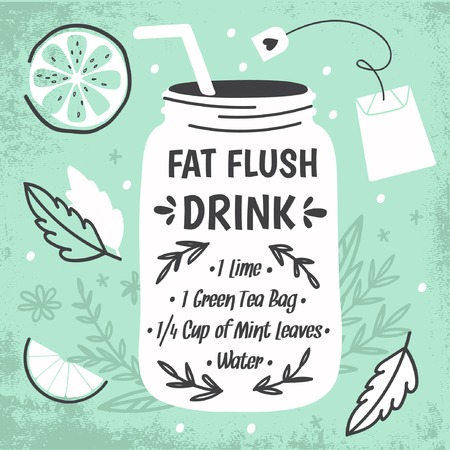 fresh juice: Detox fat flush water recipe. Decorative doodle style vector illustration with mason jar and ingredients. Illustration