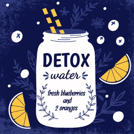 Detox fat flush water recipe. Decorative doodle style vector illustration with mason jar and ingredients. 矢量图像