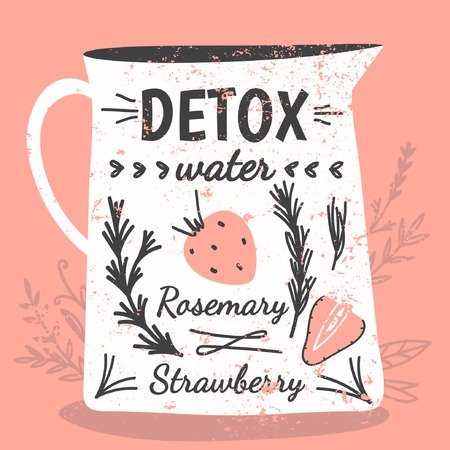 Detox fat flush water recipe. Decorative doodle style vector illustration with jar and ingredients.