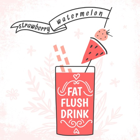 Detox fat flush drink recipe. Decorative doodle style vector illustration with watermelon and strawberry 矢量图像