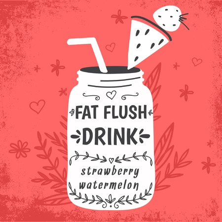 detox: Detox fat flush water recipe. Decorative doodle style vector illustration with mason jar and ingredients. Illustration
