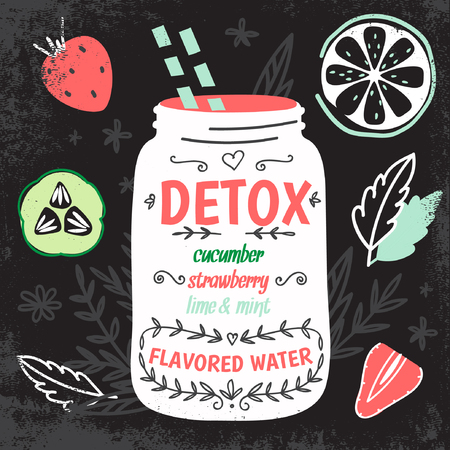cold water: Detox fat flush water recipe. Decorative doodle style vector illustration with mason jar and ingredients. Illustration