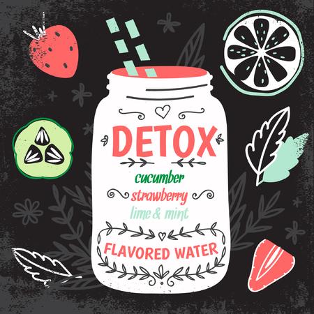 frio: Grasa Detox receta agua de descarga. Decorativo ilustración vectorial estilo de dibujo con el tarro de albañil y los ingredientes.