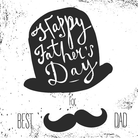 best party: Happy Fathers Day greeting. Hand drawn lettering, typography poster.