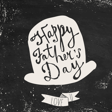 happy family: Happy Fathers Day greeting. Hand drawn lettering, typography poster.