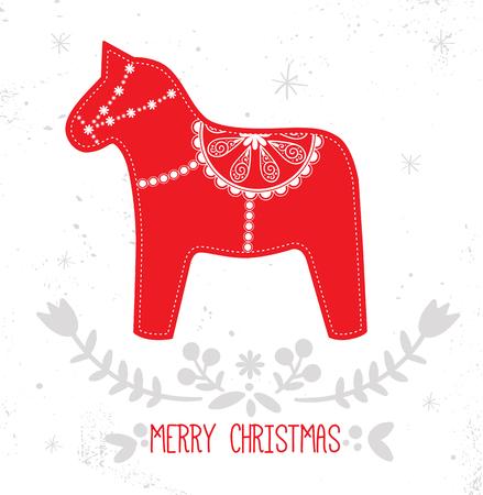 scandinavian: Scandinavian Christmas Red and White Decoration. Vector Dala Horse.