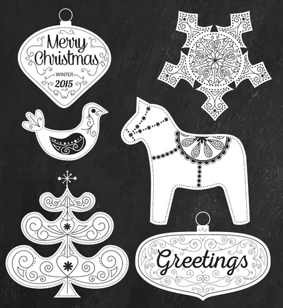 scandinavian christmas: Hipster Typography Christmas design elements - labels, emblems and decorative elements. Scandinavian Christmas set on chalkboard Illustration