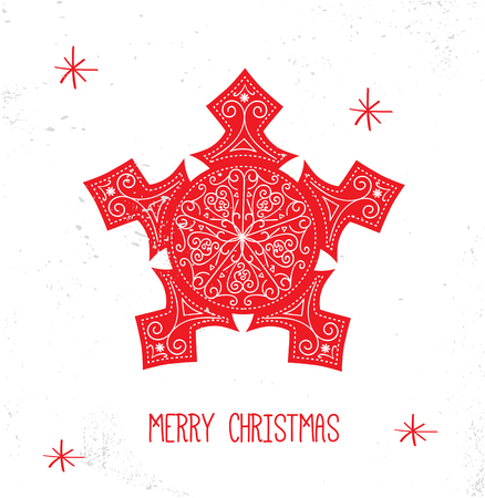 scandinavian christmas: Scandinavian Christmas Red and White Decoration. Vector Snowflake. Illustration