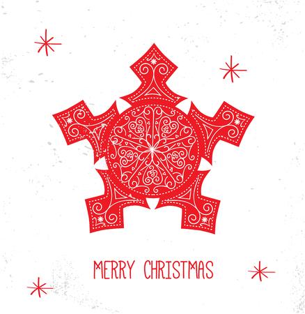 scandinavian: Scandinavian Christmas Red and White Decoration. Vector Snowflake. Illustration