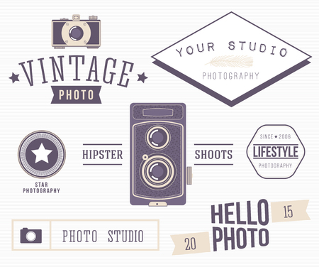 bright color: Set of retro photo . Wedding photography collection. Brand identity ideas.