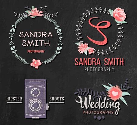 wedding photography: Set of retro photo . Wedding photography collection. Brand identity ideas.