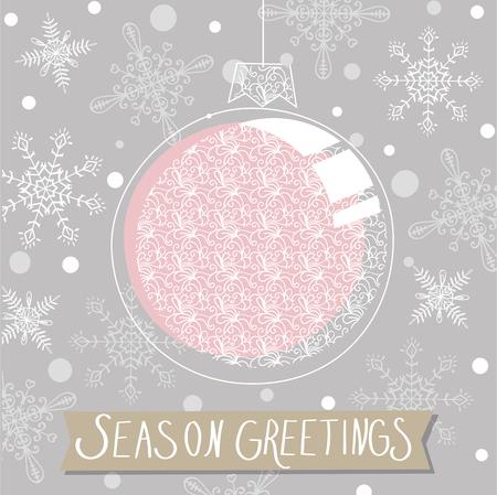 greeting season: season greeting with christmas decoration and snowflakes