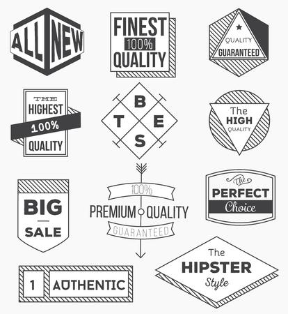빈티지 레이블, 화살표, 리본, 기호 및 디자인 요소의 컬렉션