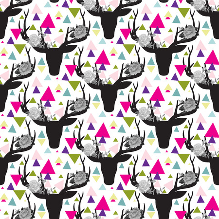 deer skull: Hipster seamless pattern with triangle, deer horns and roses.