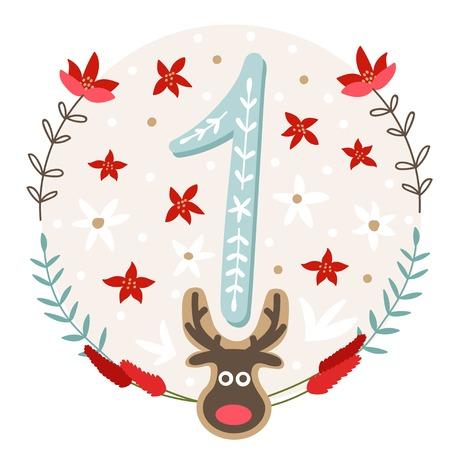 calendrier: Affiche de Noël. Mignon Colorful Calendrier de l'Avent de Noël. Compte à rebours de Noël 1 Illustration