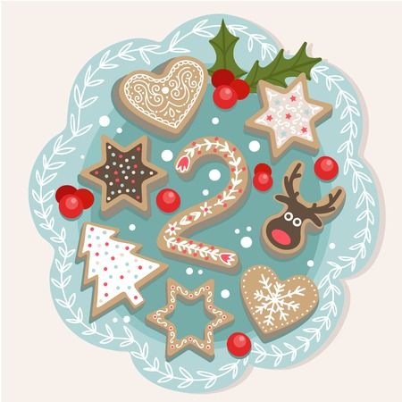 Christmas poster. Cute Colorful Christmas Advent Calendar. Countdown to Christmas 2 矢量图像