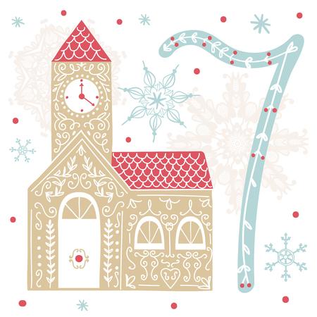 크리스마스 포스터입니다. 귀여운 화려한 크리스마스 강림절 달력입니다. 크리스마스 카운트 다운 일러스트