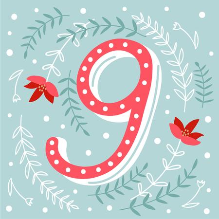 adviento: Cartel de la Navidad. Calendario lindo colorido advenimiento de la Navidad. Cuenta atr�s para la Navidad 9 Vectores