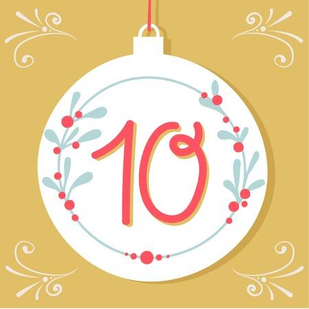adviento: Cartel de la Navidad. Calendario lindo colorido advenimiento de la Navidad. Cuenta atrás para la Navidad 10