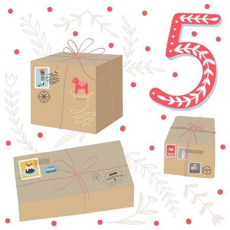 adviento: Cartel de la Navidad. Calendario lindo colorido advenimiento de la Navidad. Cuenta atrás para la Navidad 5 Vectores