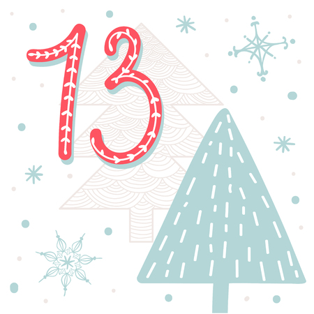 Christmas poster. Cute Colorful Christmas Advent Calendar. Countdown to Christmas 13 向量圖像