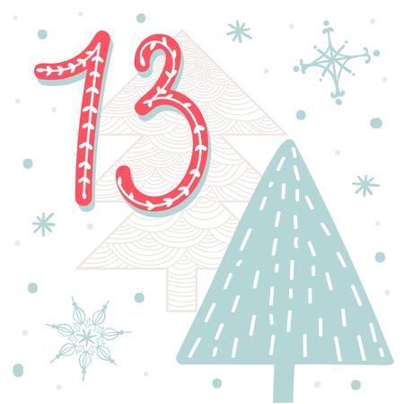 advent calendar: Christmas poster. Cute Colorful Christmas Advent Calendar. Countdown to Christmas 13 Illustration