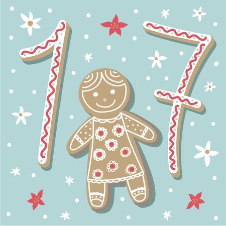 크리스마스 포스터입니다. 귀여운 화려한 크리스마스 강림절 달력입니다. 크리스마스 17 카운트 다운 일러스트