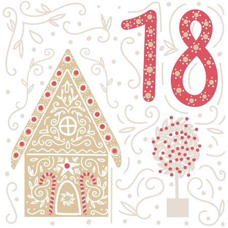 advent: Christmas poster. Cute Colorful Christmas Advent Calendar. Countdown to Christmas 18 Illustration