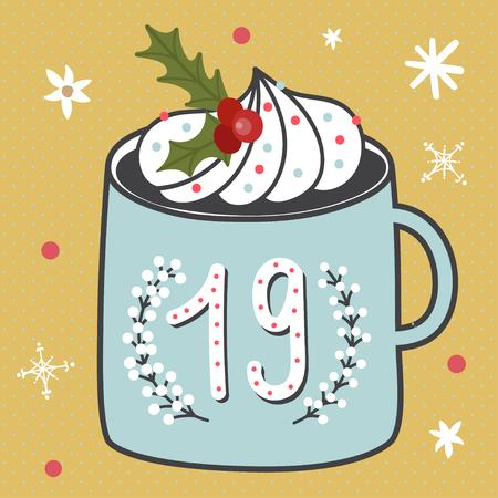 크리스마스 포스터입니다. 귀여운 화려한 크리스마스 강림절 달력입니다. 크리스마스 19 카운트 다운
