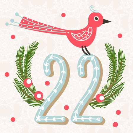 advent calendar: Christmas poster. Cute Colorful Christmas Advent Calendar. Countdown to Christmas 22