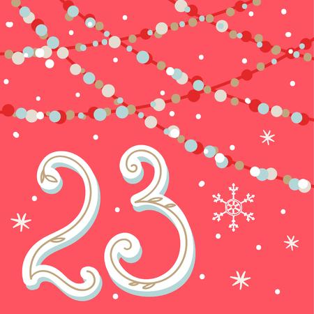 크리스마스 포스터입니다. 귀여운 화려한 크리스마스 강림절 달력입니다. 크리스마스 23 카운트 다운