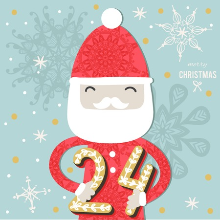 countdown: Christmas poster. Cute Colorful Christmas Advent Calendar. Countdown to Christmas 24 Illustration