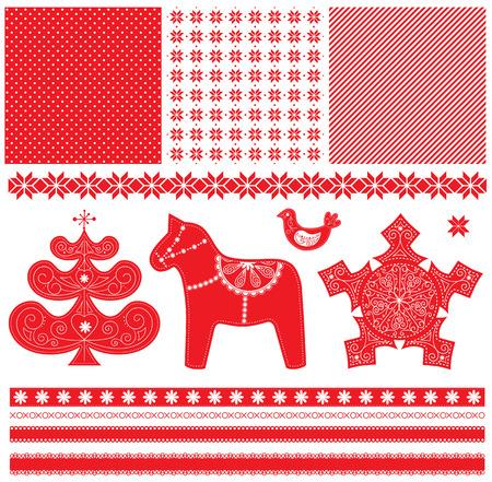 scandinavian christmas: Scandinavian Christmas Red and White Decoration. Vector Dala Horse, Christmas Tree, Bird, Seamless Patterns and Ribbon. Illustration