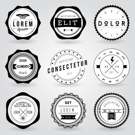 marcos redondos: Conjunto de etiquetas retro inconformista de la vendimia