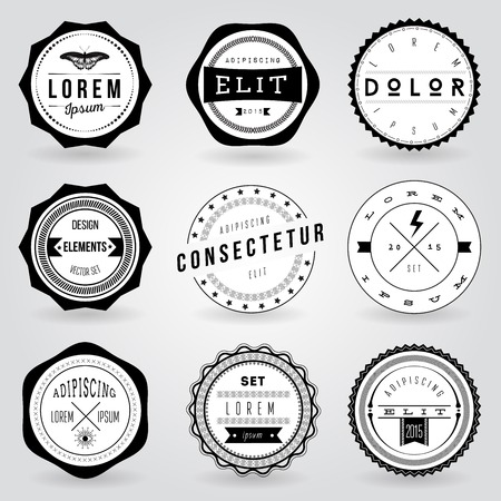 square button: Set of hipster vintage retro labels Illustration