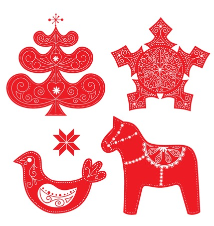 Scandinavian Christmas Red and White Decoration Set. Vector Dala Horse, Bird, Christmas Tree and Snowflake.