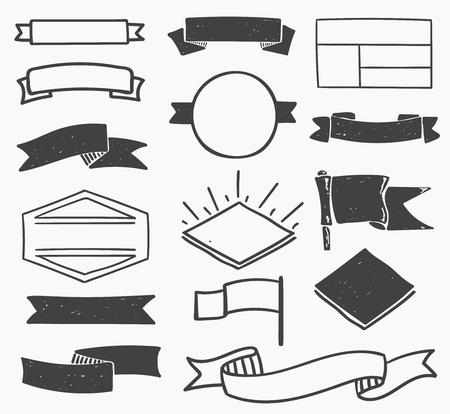 Set of hand drawn blank vintage badges, borders, frames and labels. eps10
