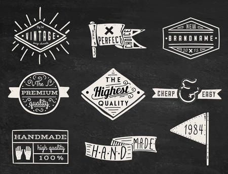 blank chalkboard: Set of chalk hipster vintage retro labels and logo on chalkboard background Illustration