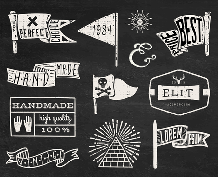 banner craft: Set of hand drawn hipster vintage badges, borders, frames and labels on chalk board background. eps10